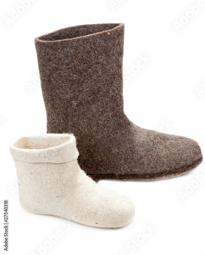 Pair light and dark big woolly lock footwear