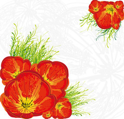 Red tulips floral vector background