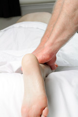 Close Leg Massage of Male