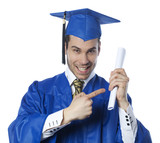 homme fier serrant son diplôme de MBA poster