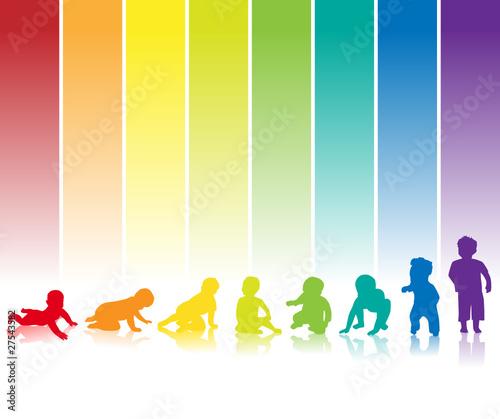baby silhouette regenbogen hintergrund - 27543582
