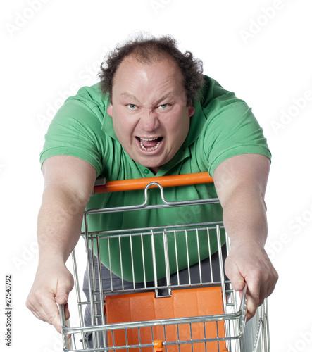 homme furieux stressé au supermarché courses