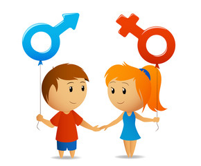 Male and female sign with girl and boy