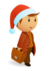 Cartoon christmas businessman with briefcase