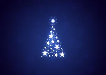 Karte Weihnachtskarte Tannenbaum Sterne