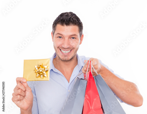shopping man with bags and bonus card