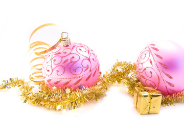 traditional pink christmas glass ball