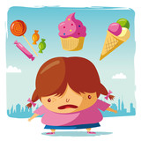 Obese / candy, cake and ice cream poster