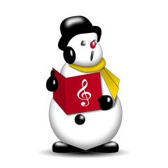 Icono muñeco de nieve cantando villancicos estilo vintage
