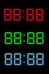 Digital clock display. Red, green, blue.