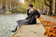 Dating couple in Paris on canal Saint-Martin