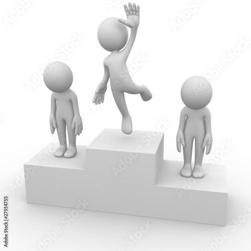 People on a podium