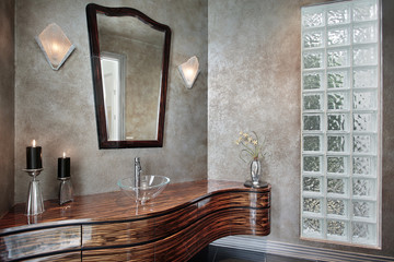 Powder room with leaded glass