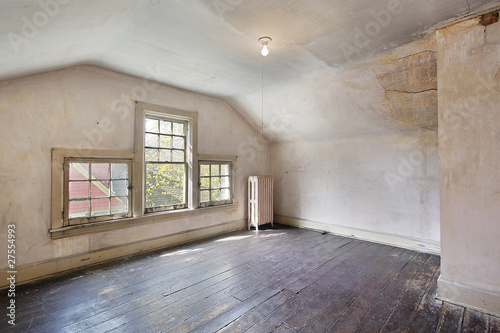 Pink bedroom in old abandoned home