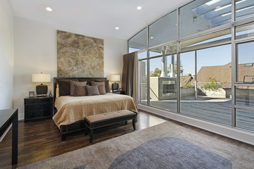 Master bedroom with large deck