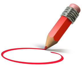 Red pencil circling on blank page