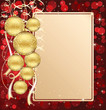 Background with card and Christmas balls