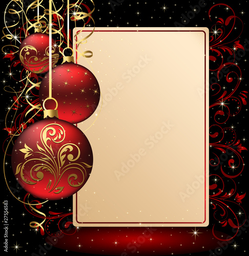 Background with paper and Christmas balls