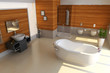 3d render modern bathroom