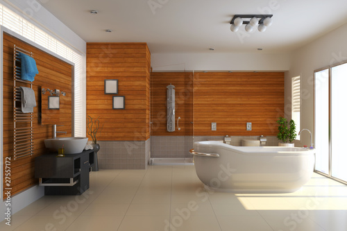 3d render modern bathroom