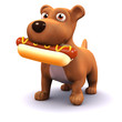 3d Small dog with big hot dog