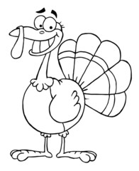 Outlined Turkey Mascot Cartoon Character