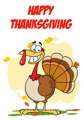 Happy Thanksgiving Greeting With Turkey Cartoon Character