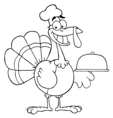 Outlined Happy Turkey Chef Serving A Platter