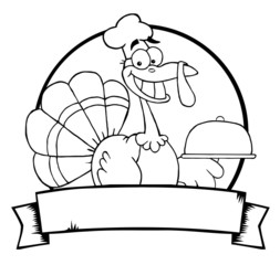Outlined Turkey Chef Serving A Platter Over A Circle