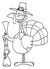 Outlined Turkey With Pilgrim Hat and Musket