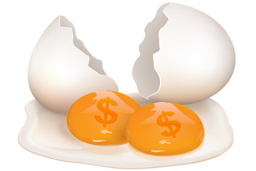broken egg with dollar icon