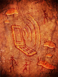 prehistoric cave paint  with hunters animals and mobile phone poster