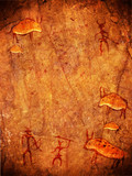 prehistoric cave paint with hunters and animals poster