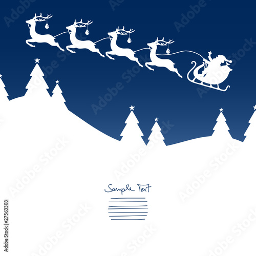 Xmas Card Christmas Sleigh Silent Night Blue