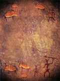 prehistoric paint with hunters and animals digital illustration poster