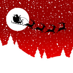 Christmas Sleigh Flying Snowflakes Red