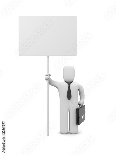 Businessman with billboard. Image contain clipping path