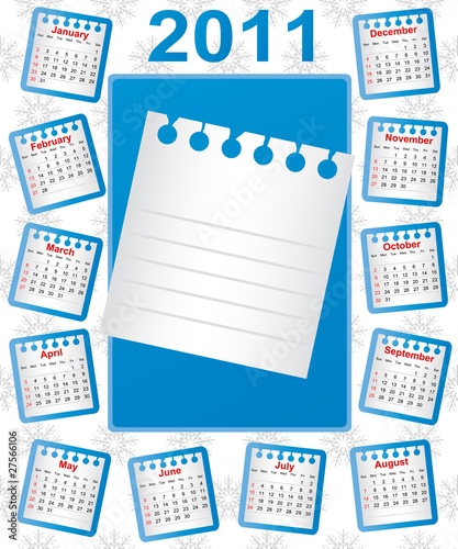 Calendar 2011. Week starts on Sunday