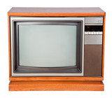 Old console television with clipping path