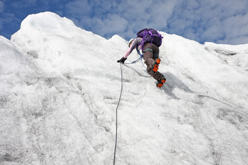 Escalade sur glacier