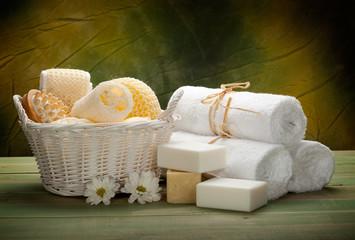 Massage tools, soap and towels