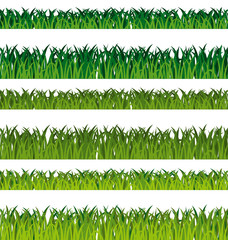 Green grass banners. Seamless patterns collection.