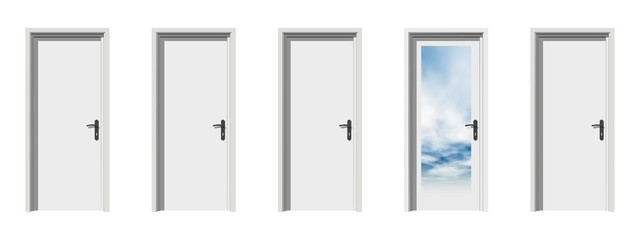 High resolution conceptual 3d doors in a row