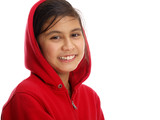 happy girl in red hooded cardigan isolated on white background - Fine Art prints