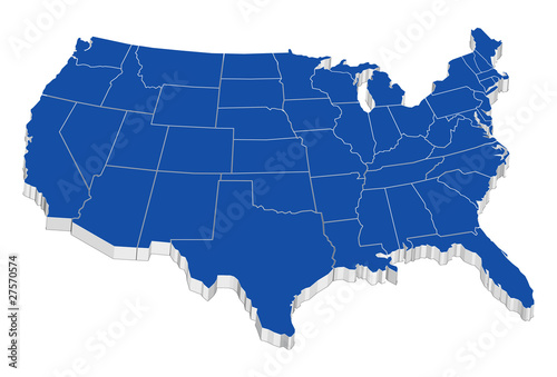Usa 3D map with states