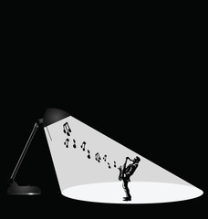 Representation of a musician in the spotlight with copy space