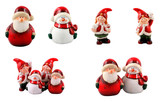 Santa and elves on a white background poster
