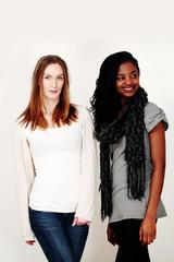 Two female fashion models in stylish casualwear