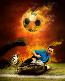 Football player in fires flame on the outdoors field - 27578915
