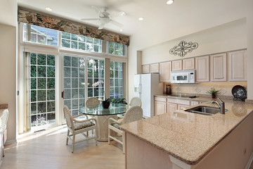 Kitchen with sliding doors to patio